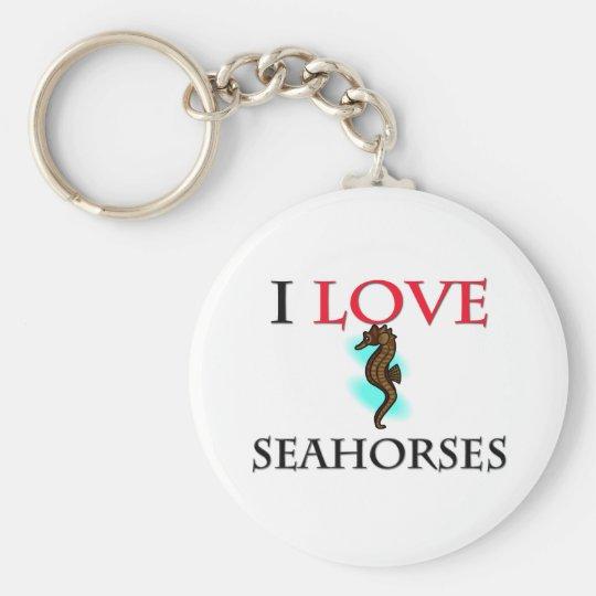 I Love Seahorses Keychain