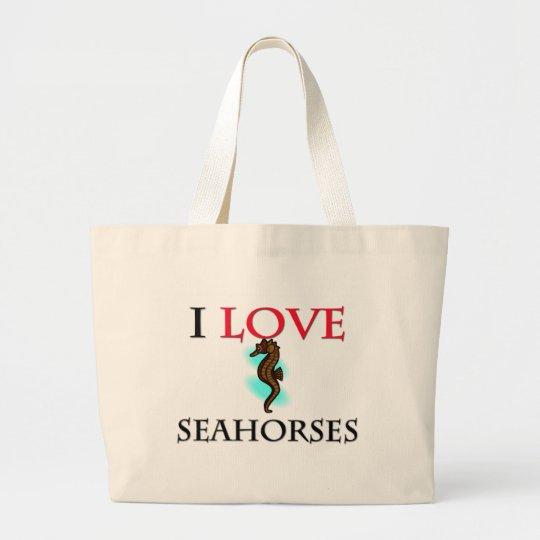 I Love Seahorses Large Tote Bag