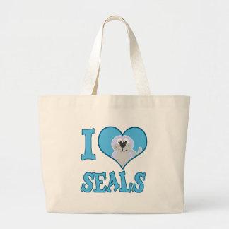 I Love seals Canvas Bags
