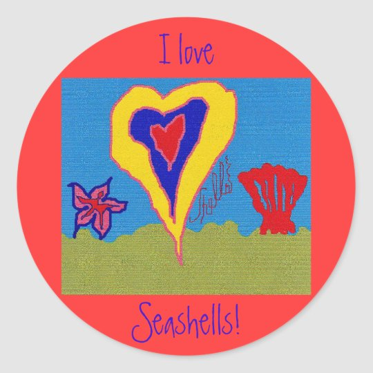 I Love Seashells! Classic Round Sticker