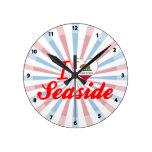 I Love Seaside, California Round Wall Clocks
