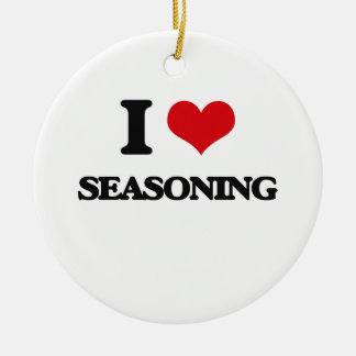 I Love Seasoning Double-Sided Ceramic Round Christmas Ornament