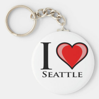 I Love Seattle Basic Round Button Keychain