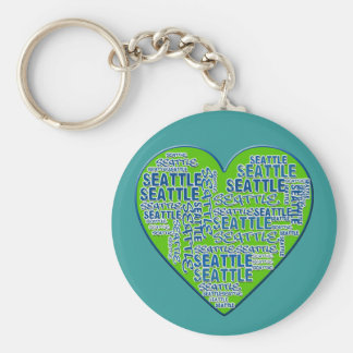 I Love Seattle in Seattle Colors Basic Round Button Keychain