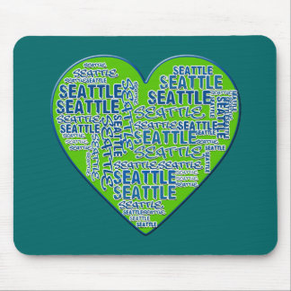 I Love Seattle in Seattle Colors Mouse Pad