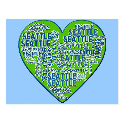 I Love Seattle in Seattle Colors Postcard