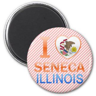 I Love Seneca, IL 2 Inch Round Magnet
