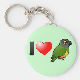 I Love Senegal Parrots Keychain
