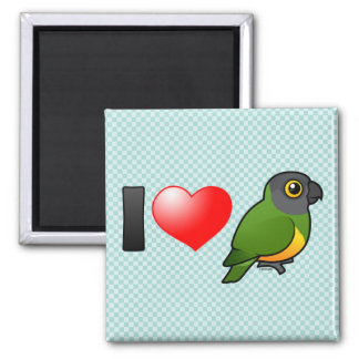I Love Senegal Parrots 2 Inch Square Magnet