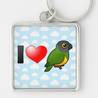 I Love Senegal Parrots Silver-Colored Square Keychain
