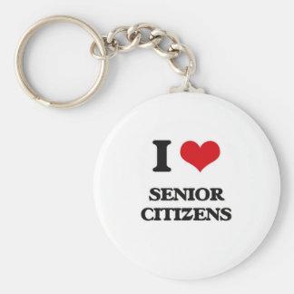 I Love Senior Citizens Keychain