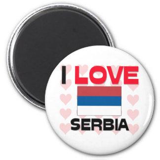 I Love Serbia 2 Inch Round Magnet