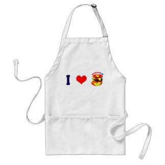 I Love Serious Burgers(horizontal) Adult Apron