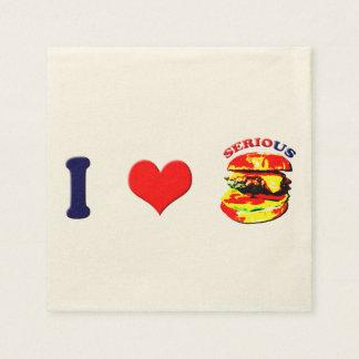 I Love Serious Burgers(horizontal) Disposable Napkins