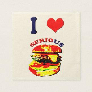 I Love Serious Burgers Disposable Napkin