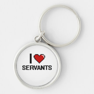 I love Servants Silver-Colored Round Keychain