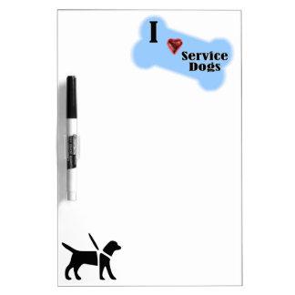 I Love Service Dogs - Blue Bone Design Dry Erase Board
