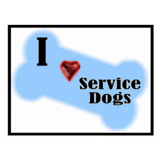 I Love Service Dogs - Blue Bone Design Postcard