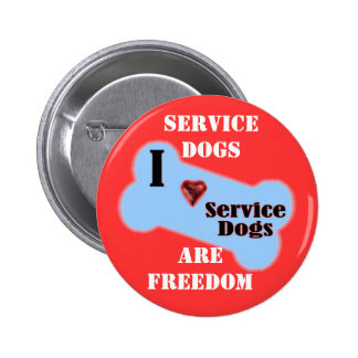 I Love Service Dogs 2 Inch Round Button