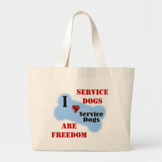 I Love Service Dogs Large Tote Bag