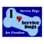 I Love Service Dogs Post Cards