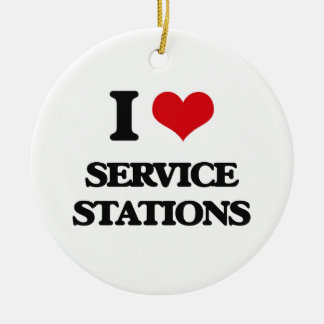 I Love Service Stations Double-Sided Ceramic Round Christmas Ornament