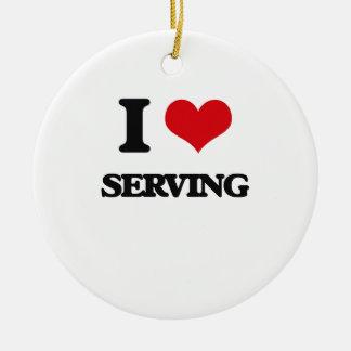 I Love Serving Round Ceramic Ornament