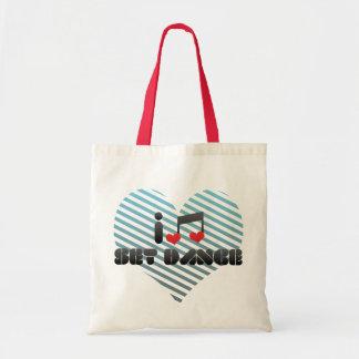 I Love Set Dance Tote Bags
