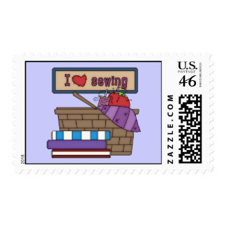 I Love Sewing (2) Postage Stamp