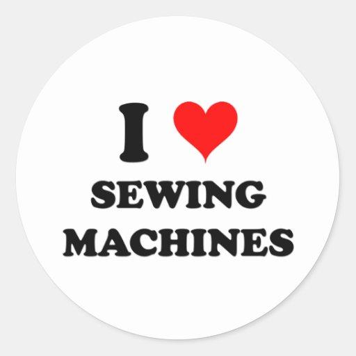 I Love Sewing Machines Round Stickers