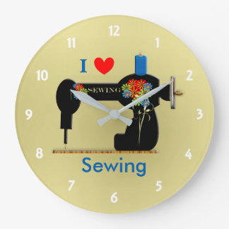I Love Sewing Vintage Sewing Machine Large Clock
