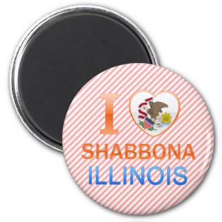 I Love Shabbona, IL 2 Inch Round Magnet