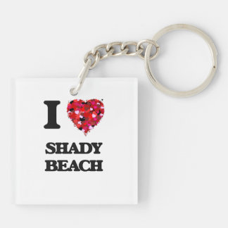 I love Shady Beach Connecticut Double-Sided Square Acrylic Keychain