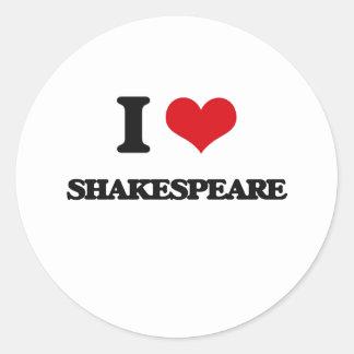 I Love Shakespeare Classic Round Sticker