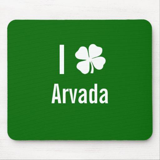 I love (shamrock) Arvada St Patricks Day Mouse Pad