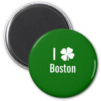 I love (shamrock) Boston St Patricks Day 2 Inch Round Magnet