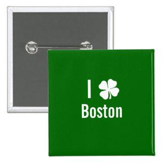 I love (shamrock) Boston St Patricks Day 2 Inch Square Button
