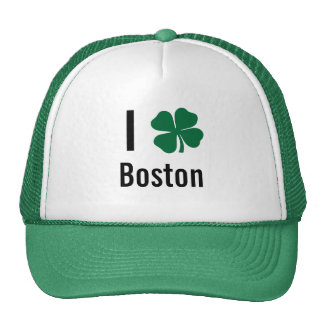 I love (shamrock) Boston St Patricks Day Trucker Hat