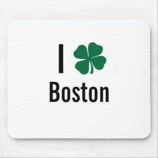 I love (shamrock) Boston St Patricks Day Mouse Pad