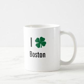 I love (shamrock) Boston St Patricks Day Classic White Coffee Mug