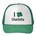 I love (shamrock) Charlotte St Patricks Day Mesh Hat