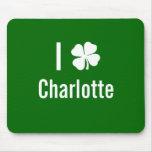 I love (shamrock) Charlotte St Patricks Day Mouse Mats