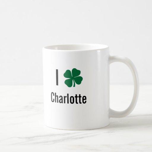 I love (shamrock) Charlotte St Patricks Day Coffee Mugs