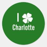 I love (shamrock) Charlotte St Patricks Day Round Stickers