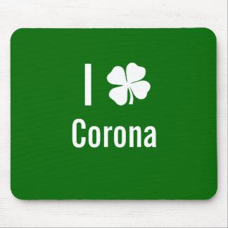 I love (shamrock) Corona St Patricks Day Mouse Pads