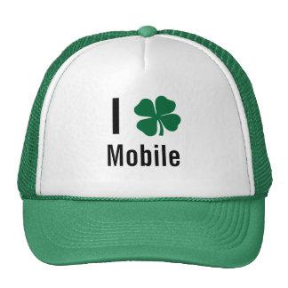 I love (shamrock) Mobile St Patricks Day Mesh Hats