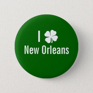 I love (shamrock) New Orleans St Patricks Day Pinback Button