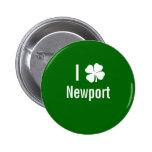 I love (shamrock) Newport St Patricks Day Pinback Buttons