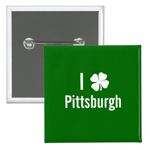 I love (shamrock) Pittsburgh St Patricks Day Pinback Buttons