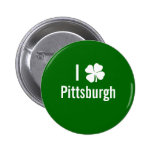 I love (shamrock) Pittsburgh St Patricks Day Buttons